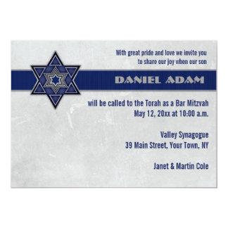 Blue Star Top Stripe Bar Mitzvah Invitation