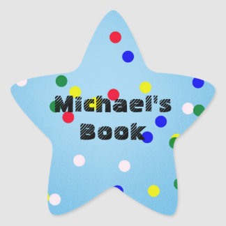 Blue Star with Dots Custom Bookplate for Kids - Star Sticker