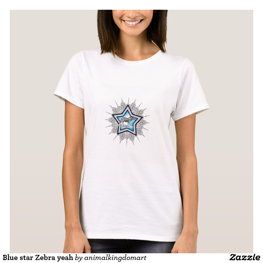 Blue star Zebra yeah T-Shirt - Best Selling Long-Sleeve Street Fashion Shirt Designs