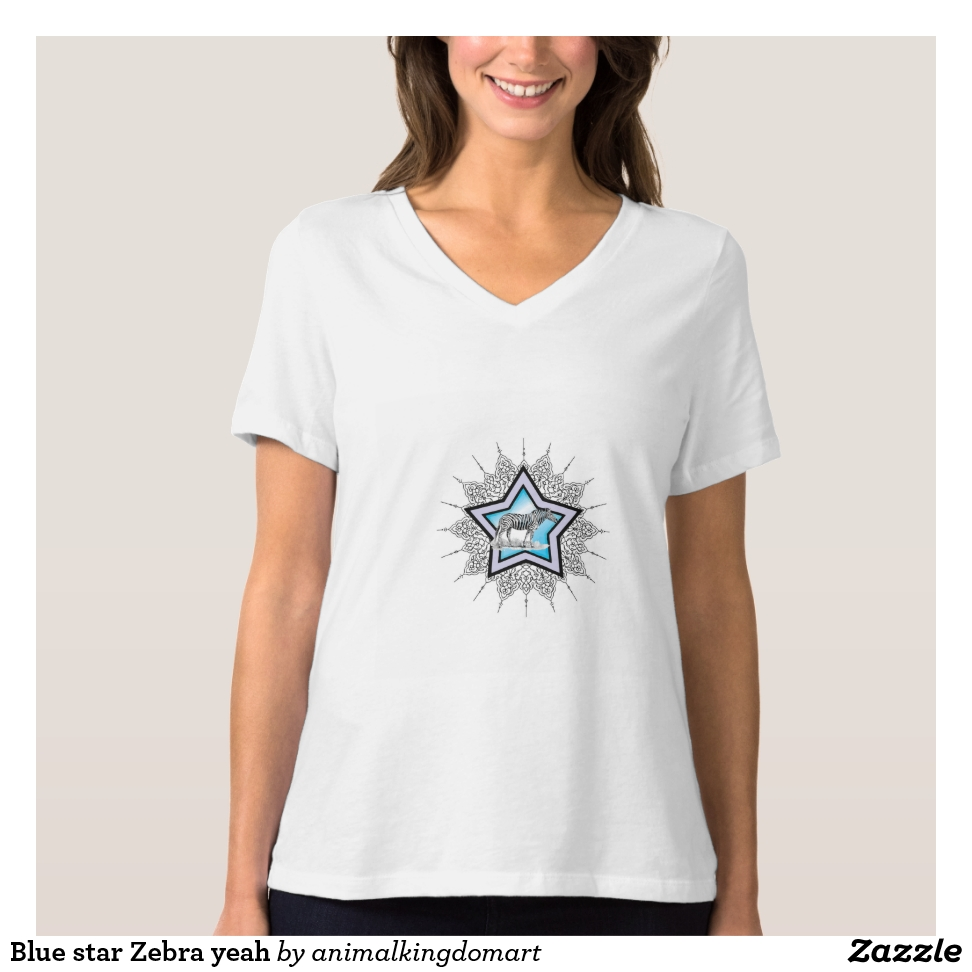 Blue star Zebra yeah T-Shirt - Best Selling Long-Sleeve Street Fashion Shirt Designs