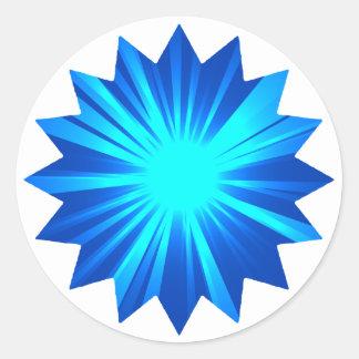 blue starburst design classic round sticker