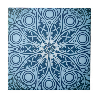 Blue Starburst Graphic Design Ceramic Tile