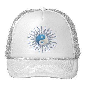 Blue Starburst Yin Yang Trucker Hats