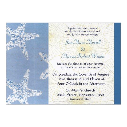 Blue Starfish and Shells Wedding Invitation