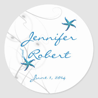 Blue Starfish and Silver Coral Envelope Seal Classic Round Sticker