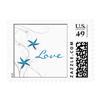 Blue Starfish and Silver Coral Postage Stamp