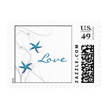 Beach Themed Blue Starfish and Silver Coral Postage Stamp