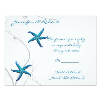 Blue Starfish and Silver Coral Response Card Invite