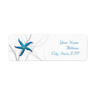 Blue Starfish and Silver Coral Return Address Label