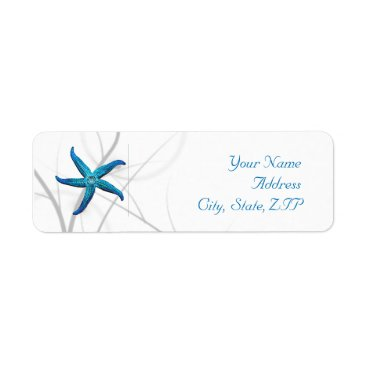 Beach Themed Blue Starfish and Silver Coral Return Address Label