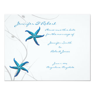 Blue Starfish and Silver Coral Save the Date Card