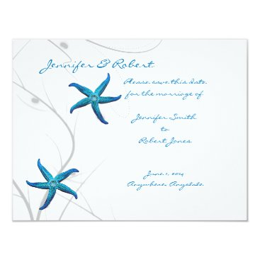 Beach Themed Blue Starfish and Silver Coral Save the Date Card