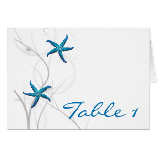 Blue Starfish and Silver Coral Table Number tent Card