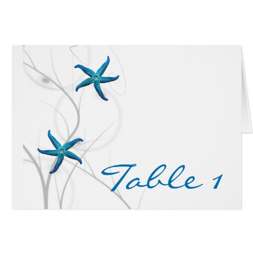 Blue Starfish and Silver Coral Table Number tent Stationery Note Card