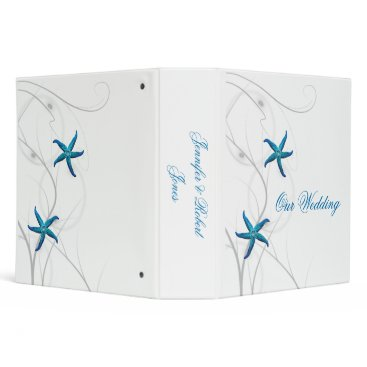 Beach Themed Blue Starfish and Silver Coral Wedding Binder