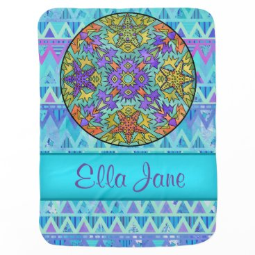 Aztec Themed Blue Starfish Art Chevron Baby Blanket Name Custom