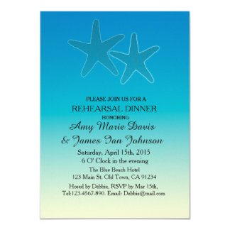 Blue starfish destination beach wedding vr11 card