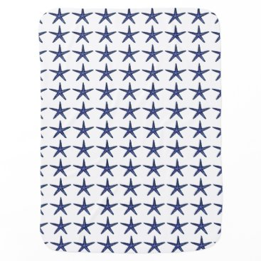 Beach Themed Blue Starfish for Baby Swaddle Blanket