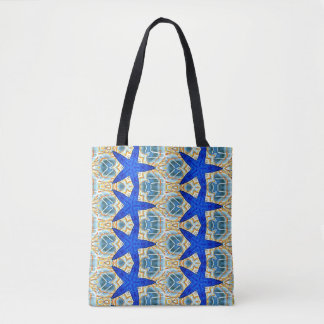 blue starfish geometric pattern tote bag