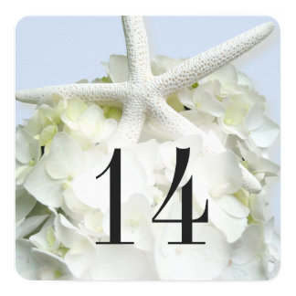 Blue Starfish Hydrangea Table Number Menu