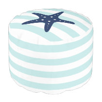 Blue Starfish on Mint and White Nautical Stripes Pouf