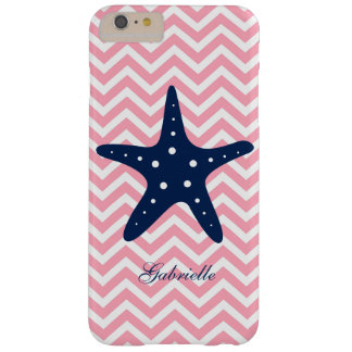 Blue Starfish on Pink Chevrons Pattern Barely There iPhone 6 Plus Case