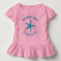 Blue Starfish Pink Beach Wedding Flower Girl Toddler T-shirt