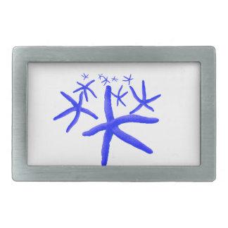 blue starfish rectangular belt buckle