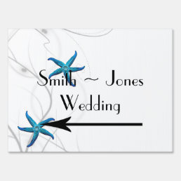 Blue Starfish Silver Coral Wedding Direction Sign