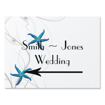 Beach Themed Blue Starfish Silver Coral Wedding Direction Sign