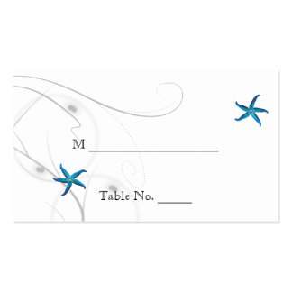 Blue Starfish Silver Coral Wedding Place Cards