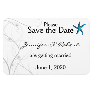 Blue Starfish Silver Coral Wedding Save the Date Rectangular Photo Magnet