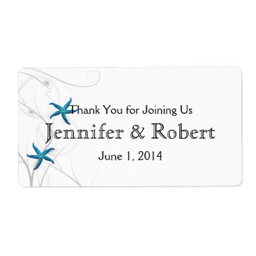 Beach Themed Blue Starfish Silver Wedding Water Bottle Label