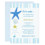 Blue Starfish   Stripes Bridal Shower Card