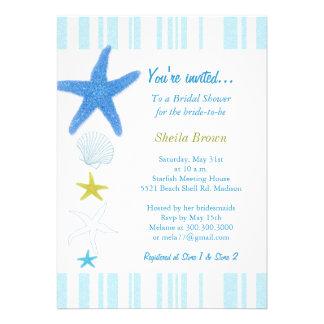Blue Starfish + Stripes Bridal Shower Invitations