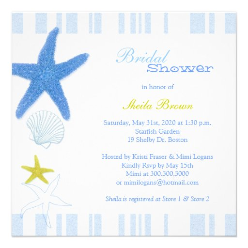 Blue Starfish + Stripes Nautical Bridal Shower Personalized Invitation