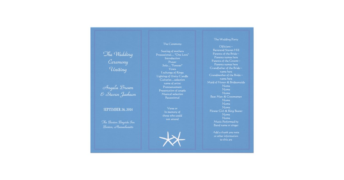 Blue Starfish Tri Fold Wedding Program Templates Letterhead