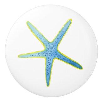 Blue Starfish Watercolor Print Ceramic Knob