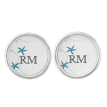 Beach Themed Blue Starfish with Silver Coral Wedding Cuff Links