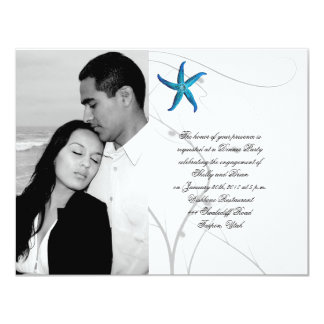 Blue Starfish with Silver Coral Wedding Engagement Card