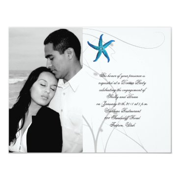 Beach Themed Blue Starfish with Silver Coral Wedding Engagement Card