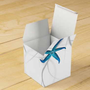 Beach Themed Blue Starfish with Silver Coral Wedding Favor Box