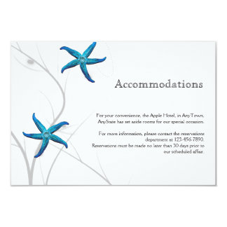Blue Starfish with Silver Coral Wedding Insert Card