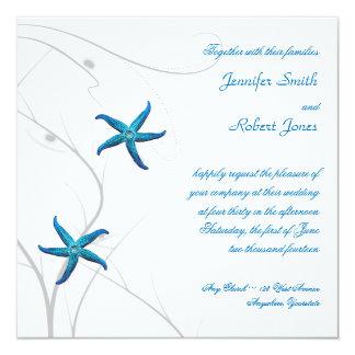 Blue Starfish with Silver Coral Wedding Invitation