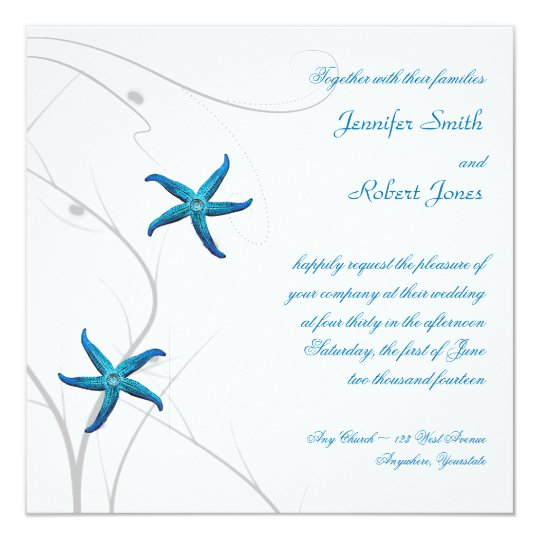 Blue Starfish with Silver Coral Wedding Invitation