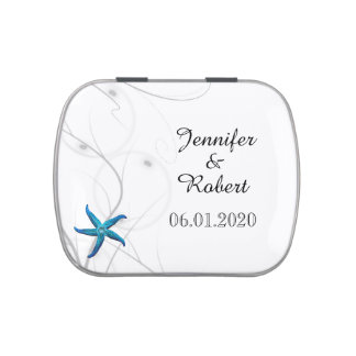 Blue Starfish with Silver Coral wedding Jelly Belly Tin
