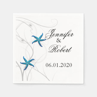 Blue Starfish with Silver Coral Wedding Napkin