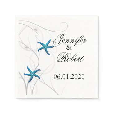 Beach Themed Blue Starfish with Silver Coral Wedding Napkin