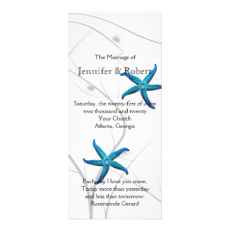 Blue Starfish with Silver Coral Wedding Program