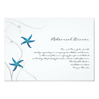 Blue Starfish with Silver Coral Wedding Rehearsal Card